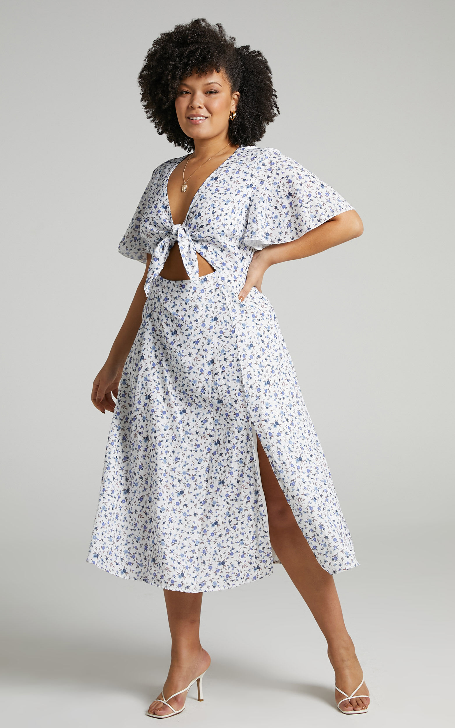 Wild And Free Mind Midi Dress in White Floral - 20, WHT2, super-hi-res image number null