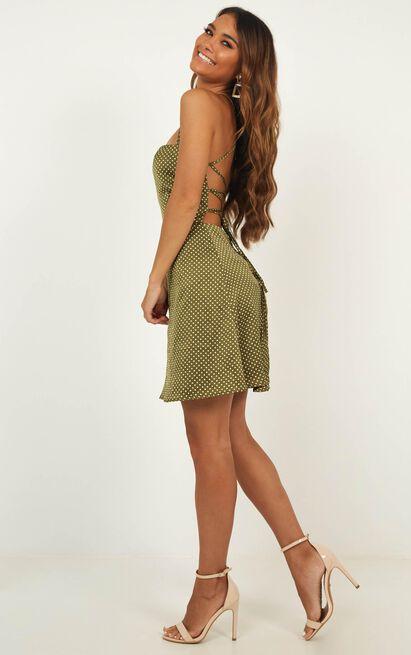Strap it Back Dress in khaki spot satin - 20 (XXXXL), Khaki, hi-res image number null