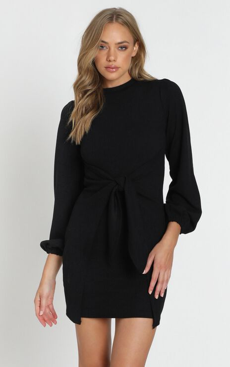 True Tie Front Dress in Black