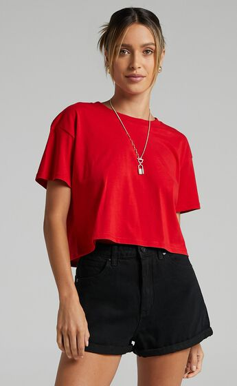 AS Colour - Crop Tee in Red