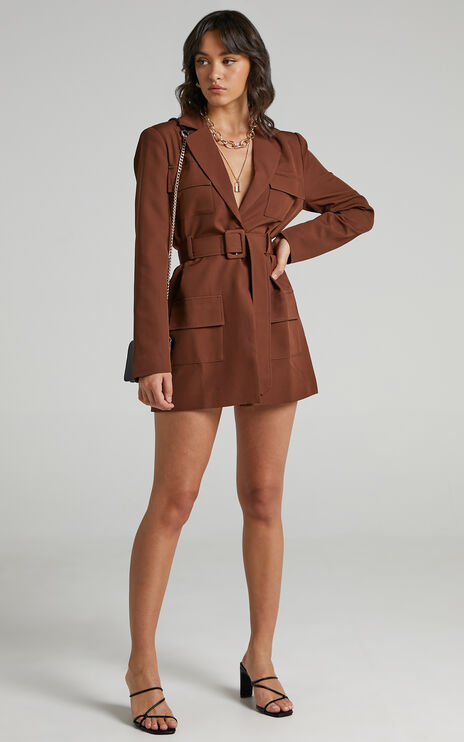 Lioness - Steinway Mini Blazer Dress in Brown