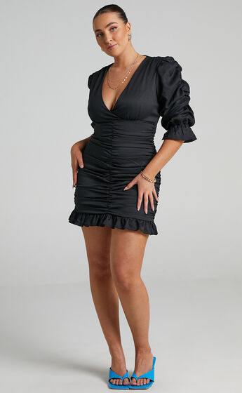 Claremont Ruched Puff Sleeve Mini Dress in Black