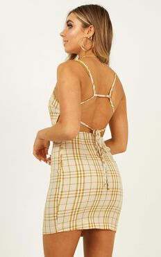 Solo Dancer Dress In Mustard Check