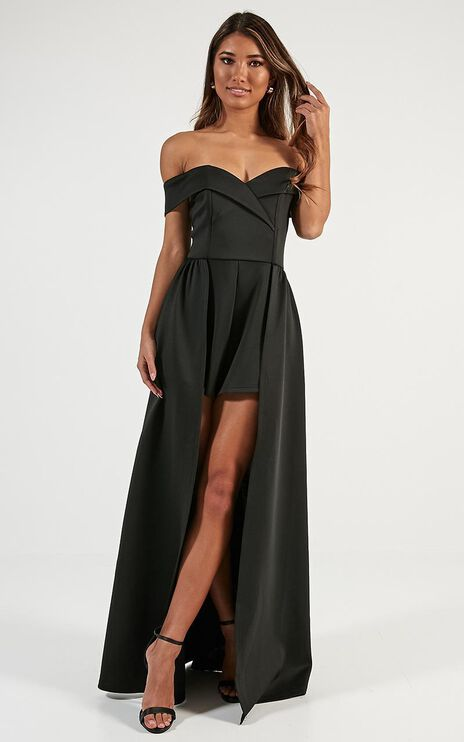 Eyes On Her Maxi Playsuit In Black