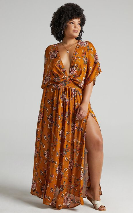 Vacay Ready Maxi Dress in Mustard Floral