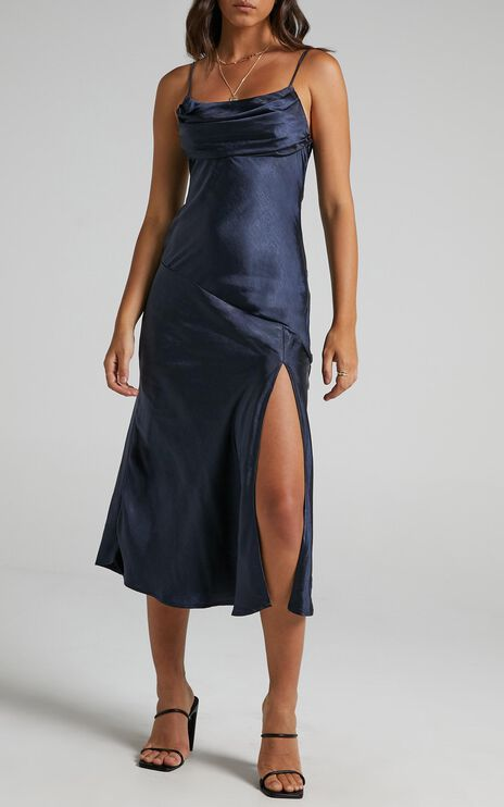 Monica Dress In Navy Satin