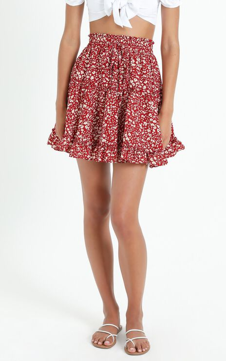 Cleo Skirt in Red Floral