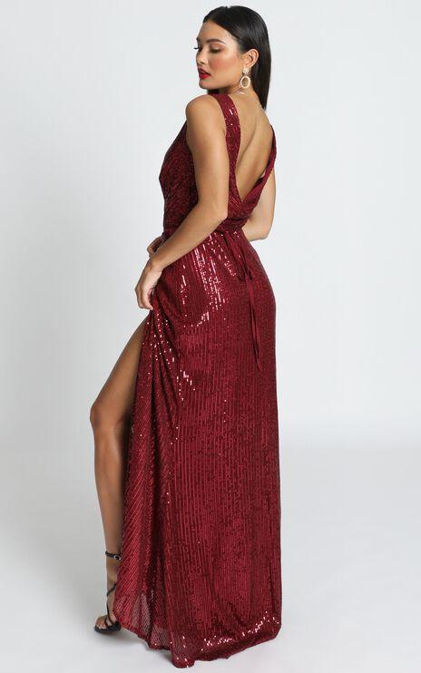 Feeling Pretty Dress In Wine Sequin