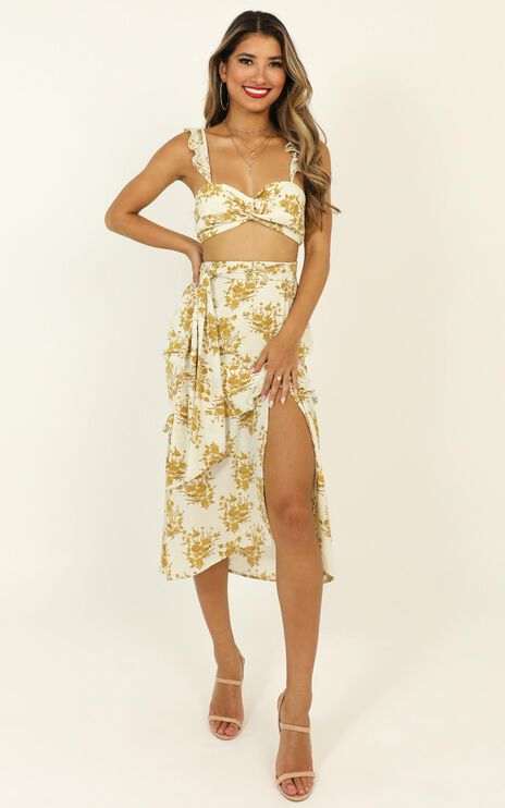 If You Think It's Love Dress In Mustard Floral