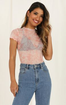 Galactic Disco Top In Coral Tie Dye