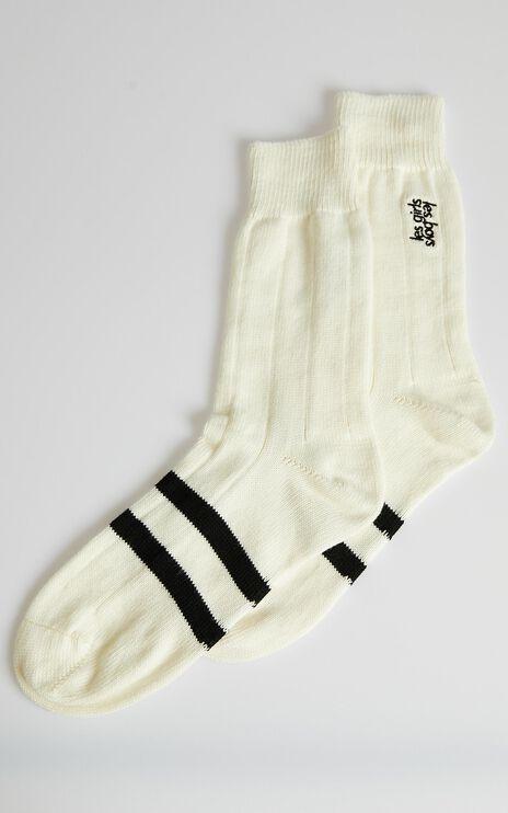 Les Girls Les Boys - Mid Calf Sock in Off White