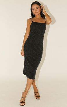 From The First Time Dress In Black Lurex