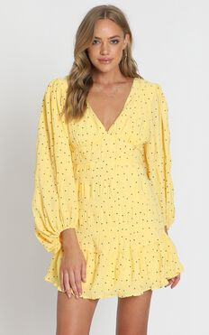 Alberta Dress in Yellow Spot