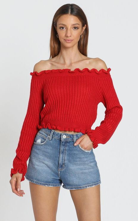 Caught You Staring Knit Jumper in Red