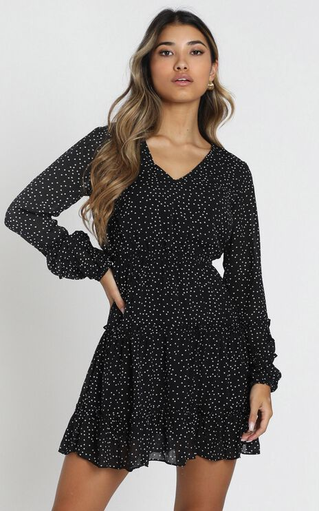 Devroux V-Neck Dress in Black Spot