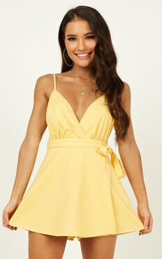 Endless Energy Playsuit In Pastel Yellow  Linen Look