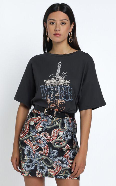 Twiin - Snakes Alive Mini Slip Skirt in Multi