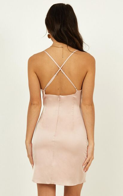 Saw The Light Dress in champagne satin - 20 (XXXXL), Beige, hi-res image number null