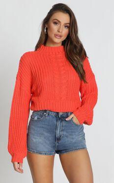 Hug Me Knitted Jumper In Orange