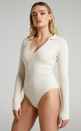 Coco V Neck Bodysuit in Cream