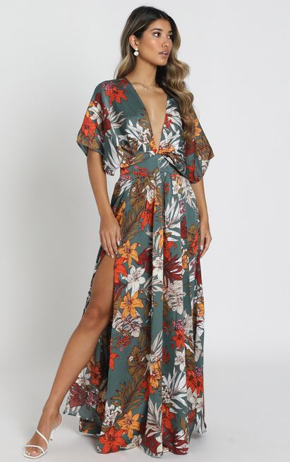 Vacay Ready Maxi Dress in teal floral satin - 20 (XXXXL), Green, hi-res image number null