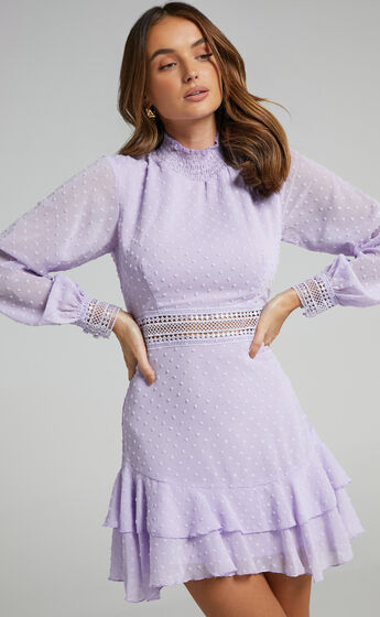 Are You Gonna Kiss Me Long Sleeve Mini Dress in Lilac
