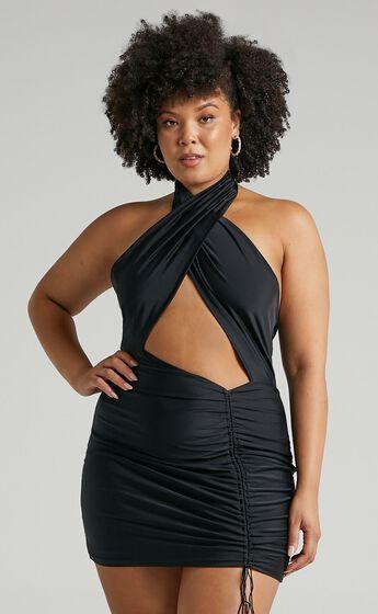Sorcha Halter Neck Mini Bodycon Dress in Black