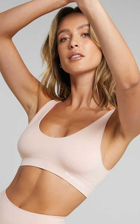 Les Girls Les Boys - Semi Sheer Crop Top in Dusty Pink