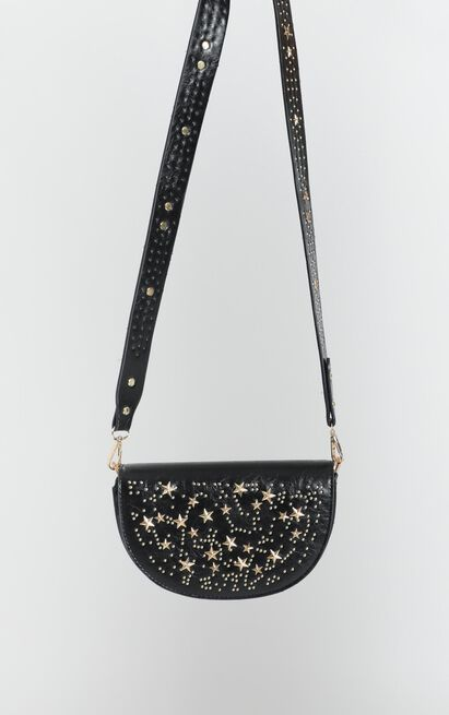 Golden Edge Studded Sling Bag In Black And Gold, , hi-res image number null