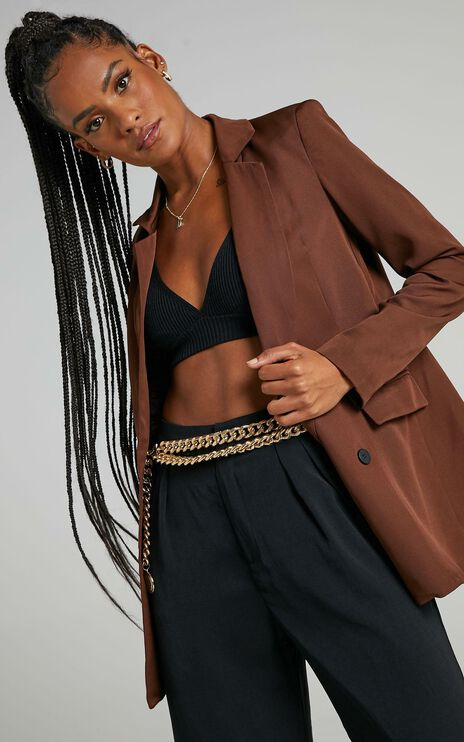 All Grown Up Blazer In Chocolate
