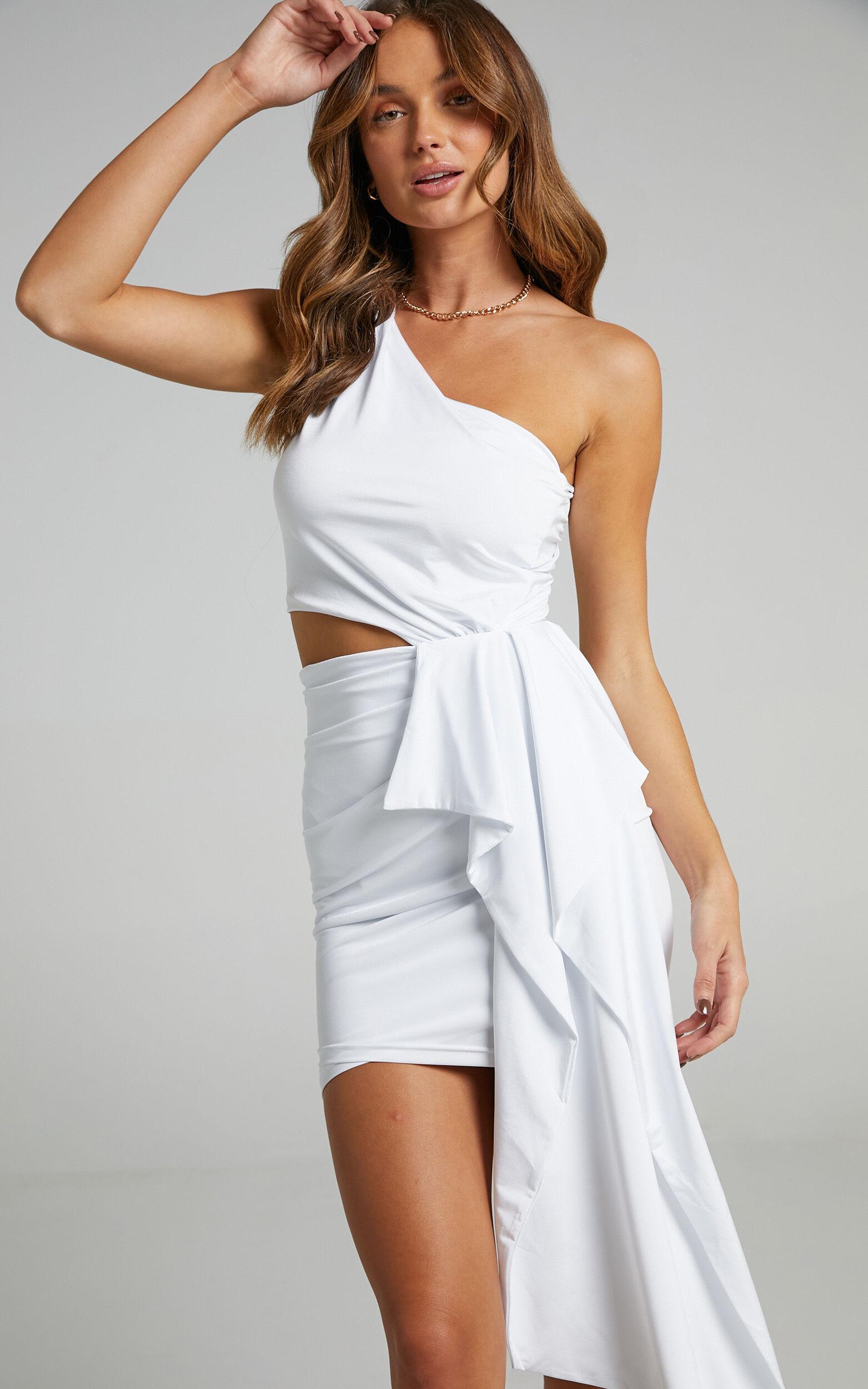 Danniela One Shoulder Drape Mini Dress in White - 16, WHT3, super-hi-res image number null