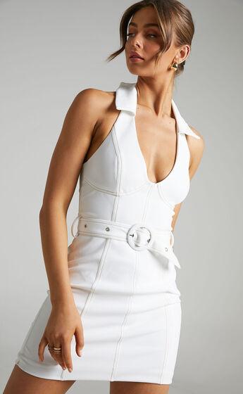 Theone Self Belt Contrast Stitching Halter Dress in Cream