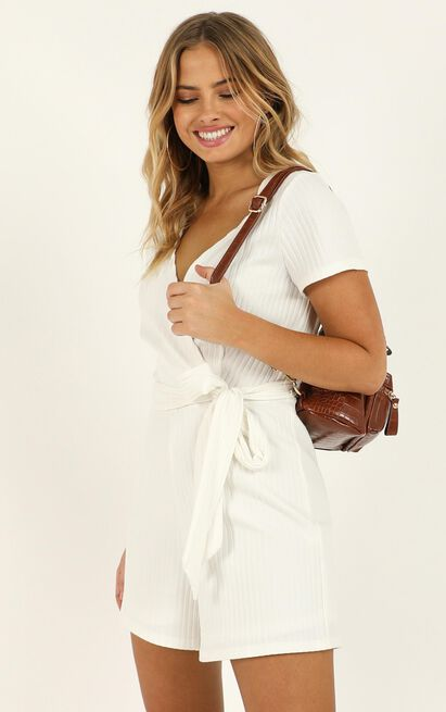 Star Gal Playsuit in white rib - 20 (XXXXL), White, hi-res image number null