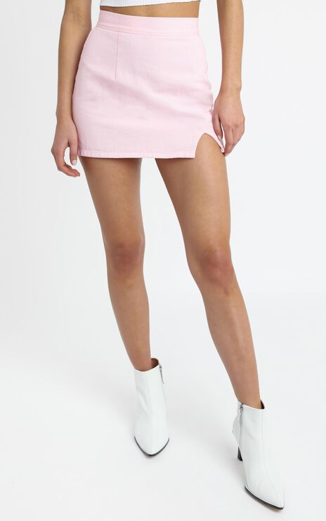 Berri Denim Skirt in Pink