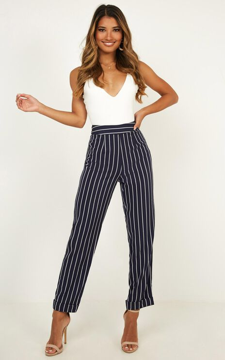 What You Needed Pants In Navy Stripe