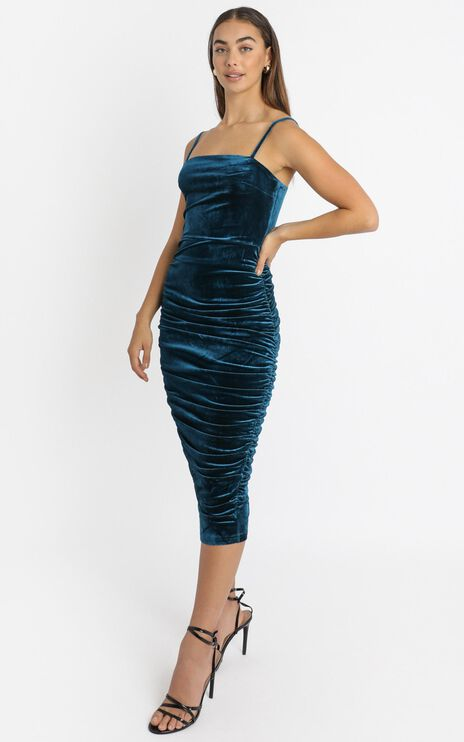 Haisley Ruched Midi Dress in teal velvet