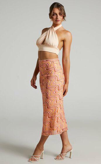 Silvi Mesh Midi Skirt in Multi Swirl