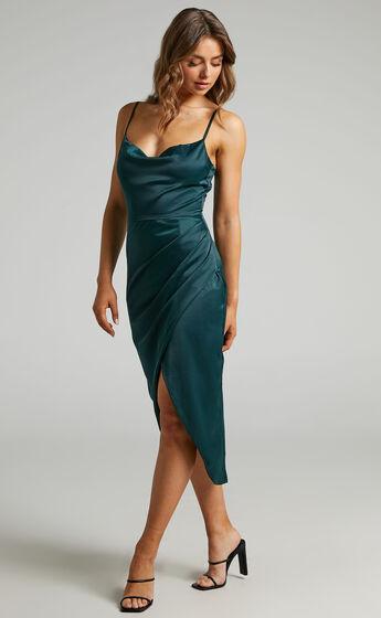 Dazzling Lights Dress in Emerald Satin