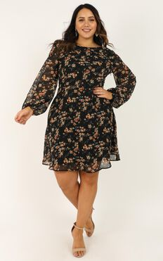 Girls Chat Dress In Black Floral