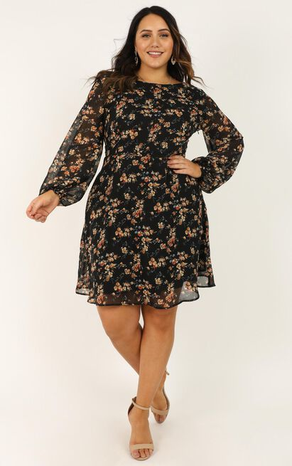 Girls Chat Dress in black floral - 20 (XXXXL), Black, hi-res image number null