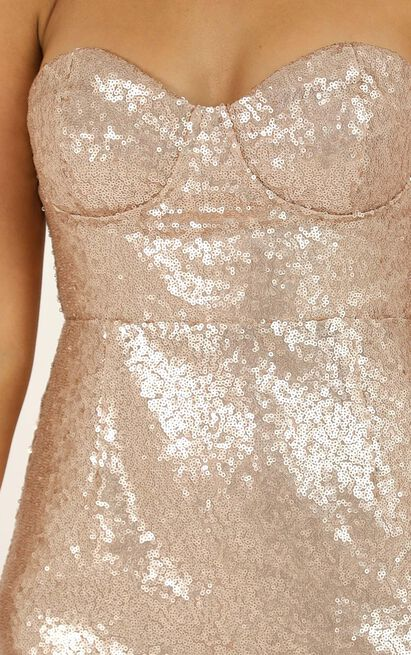Shine Bright Like A Diamond Dress in champagne sequin - 4 (XXS), Beige, hi-res image number null