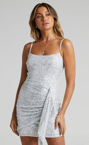 Kizzy Strappy Drape Mini Dress in Silver Sequin