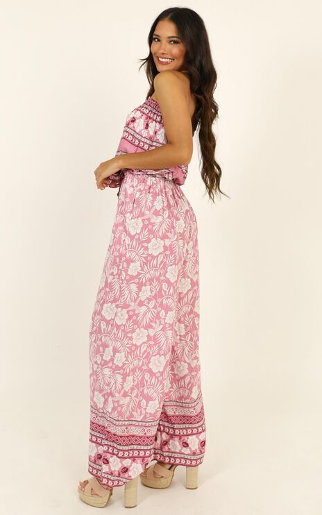 Miss Independant Jumpsuit In Pink Print