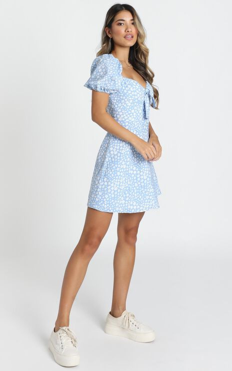 Macy A-Line Mini Dress In Blue Print