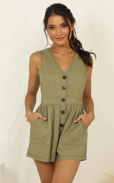 Arrive On Time Playsuit In Khaki Linen Look