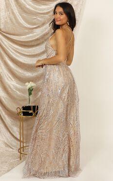 Beautiful Day Maxi Dress In Blush Sequin