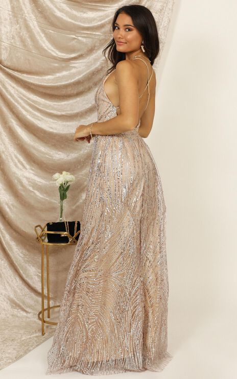 Beautiful Day Maxi Dress In Blush Sequin