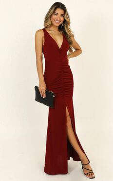 Im Falling For You Maxi Dress In Wine