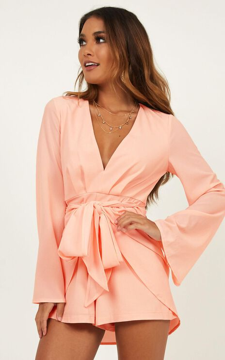 Holiday Romance Playsuit In Blush