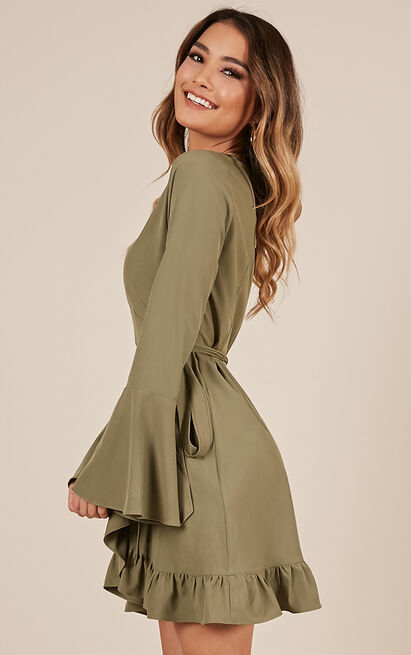 Round The Twist Dress in khaki - 12 (L), Khaki, hi-res image number null